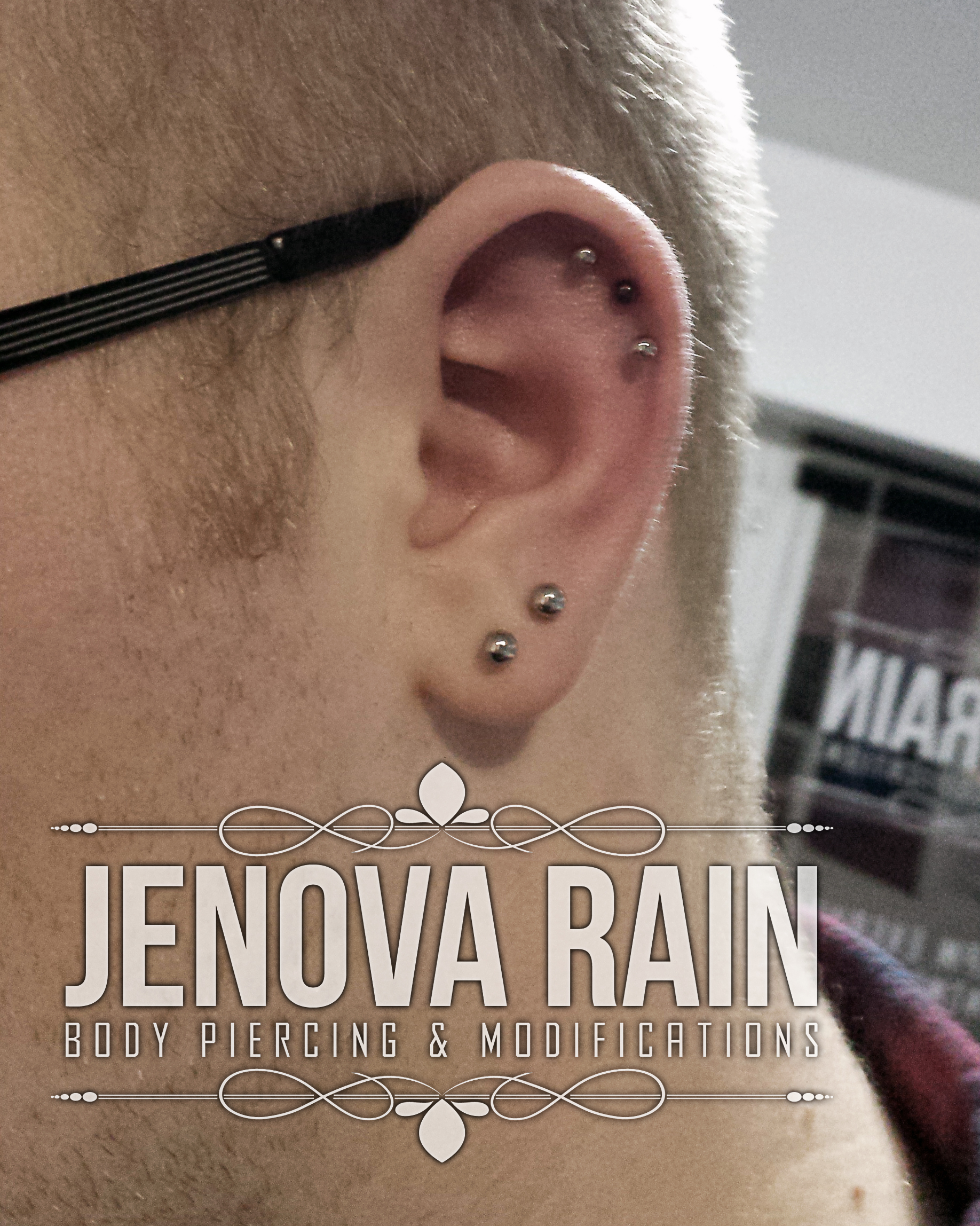 Ear helix conch body piercing